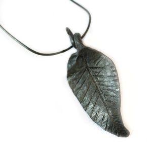 Blacksmith Leaf Pendant Necklace on Leather Cord